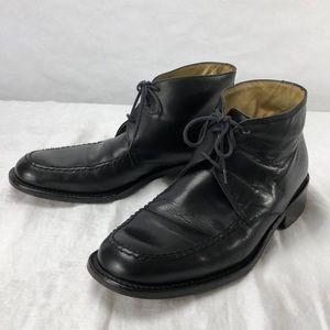 Calvin Klein men's black leather tie short boots